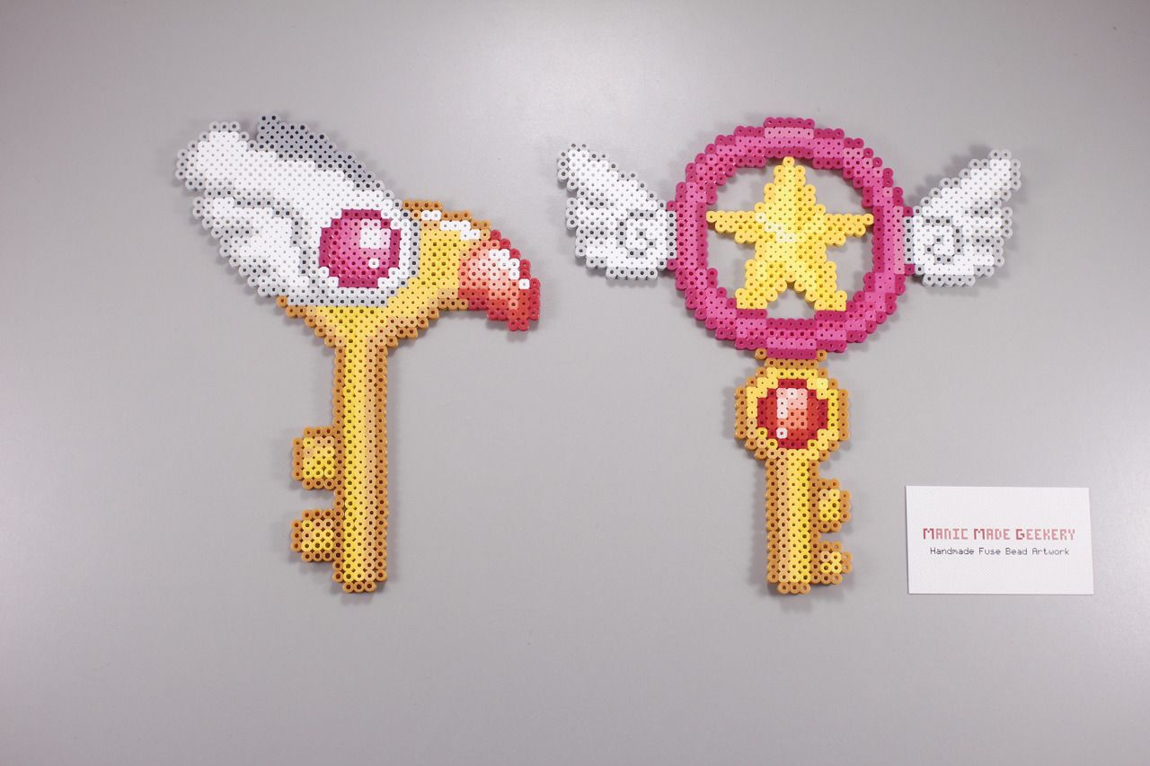 Perler and Artkal fuse bead Cardcaptors Clow Key and Star Key by Manic Made Geekery