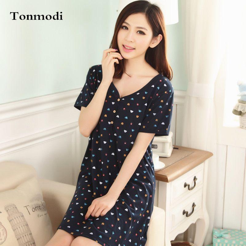 0e04e6d81a  Free Shipping  Buy Best Nightgown Women Summer Sleepwear Short-Sleeve