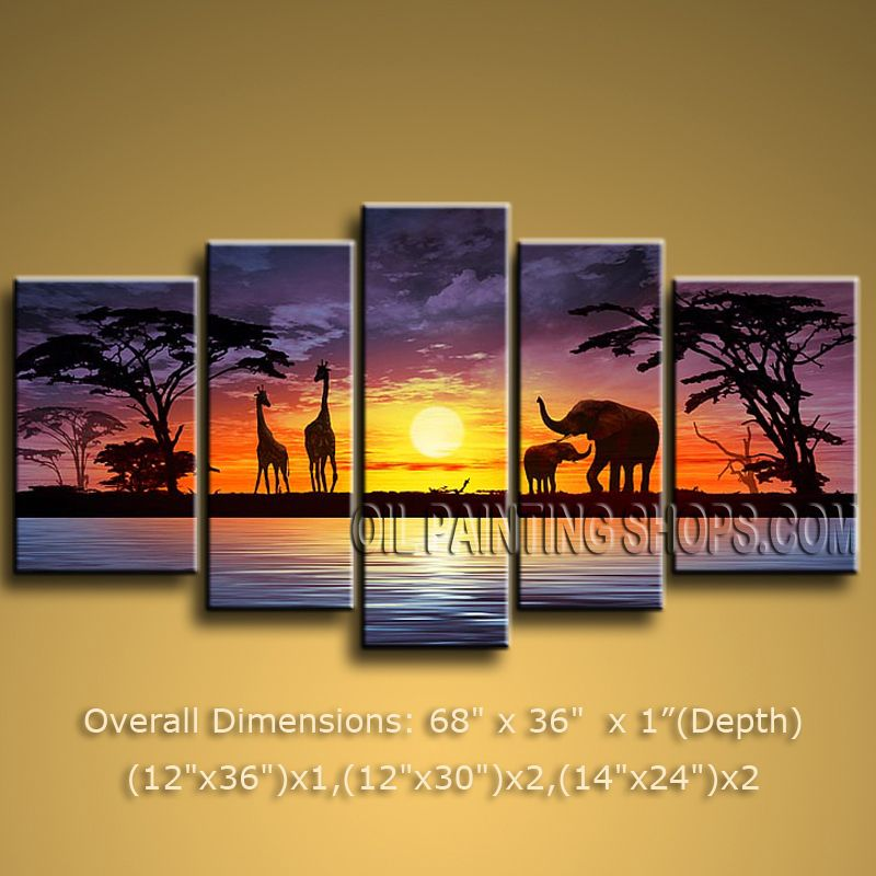 Pentaptych Contemporary Wall Art Landscape Painting Decoration Ideas ...