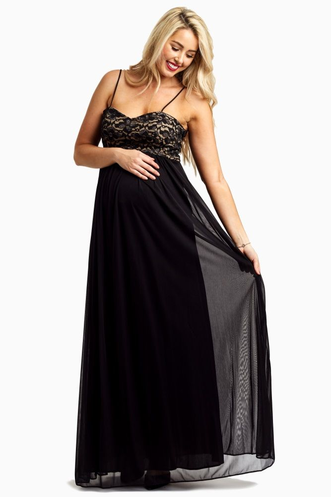 Black Lace Top Chiffon Maternity Evening Gown | Gowns, Pregnancy ...