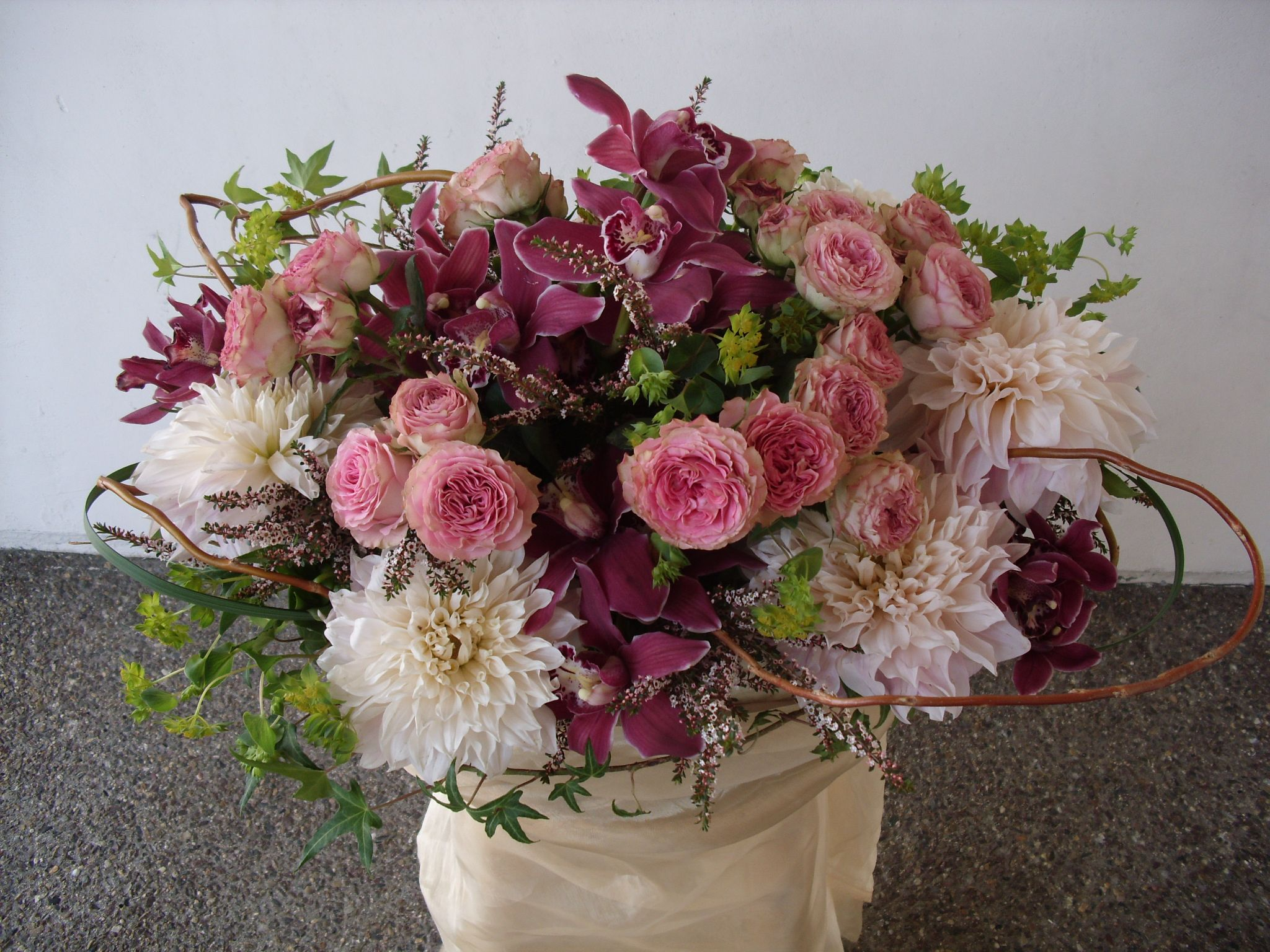 Pink Purple And White Flowers Centerpiece For Wedding And Events