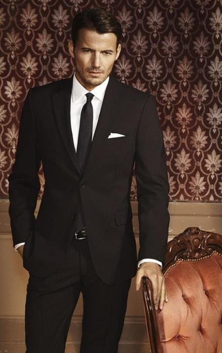mens black suit white dress shirt black tie white