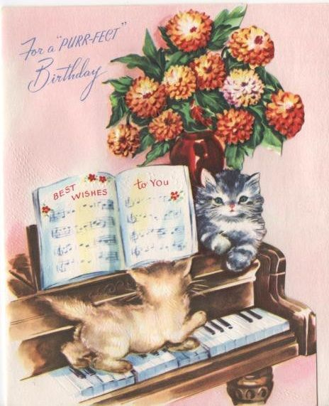 Kittens On Piano Birthday Card