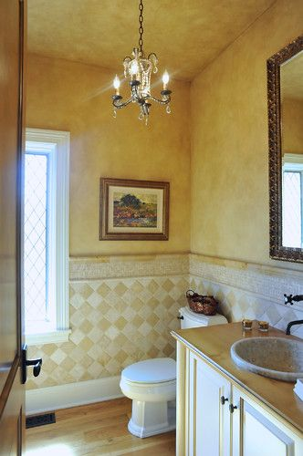 French Country Style Powder Room mediterranean powder room French