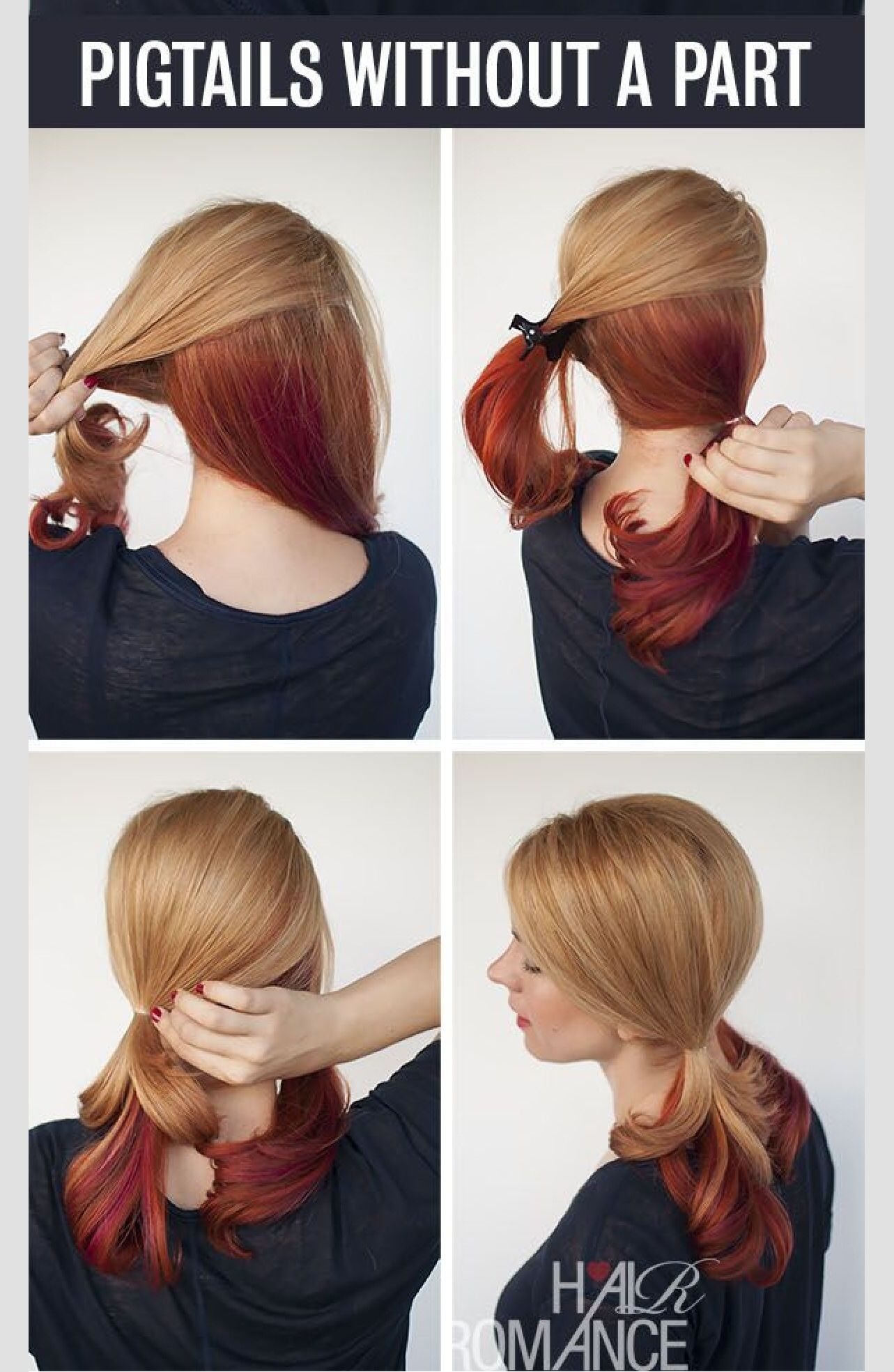 Pig tails without a part goldie locks pinterest pig tails
