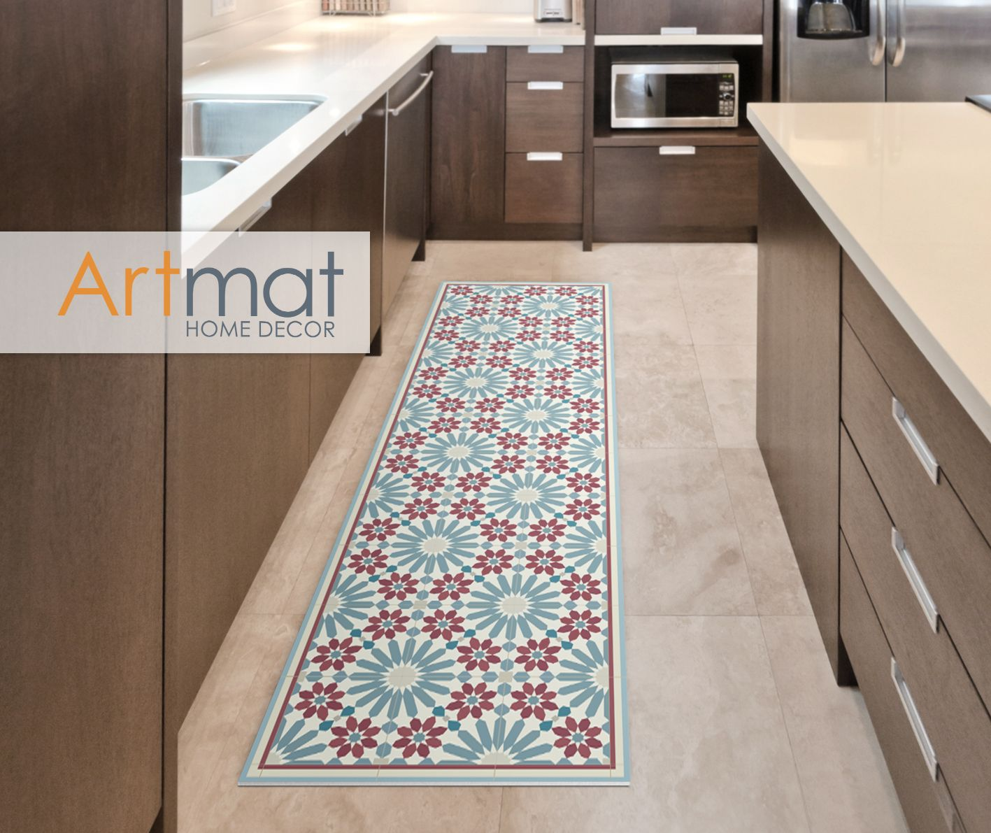 Pose Zellige Sans Joint vinyl runner rug with moroccan tiles in blue and red