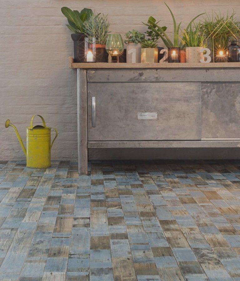 Details zu PVC Bodenbelag Holz-Optik Planken Vintage blau 4 Meter - bodenbelag küche pvc