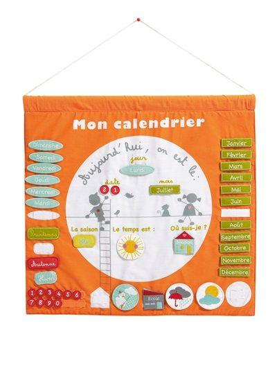 Calendrier Tissu Educatif.Calendrier Educatif Enfant Special Maternelle Orange Imprime