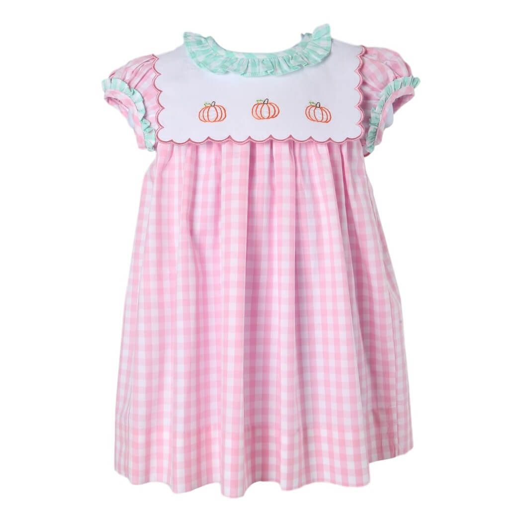 a80e8c64 Pink and Mint Check Embroidered Pumpkin Dress by Cecil and Lou ...