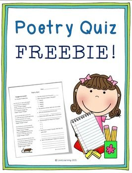 I hope you enjoy this poetry quiz freebie! It includes a poem with ...