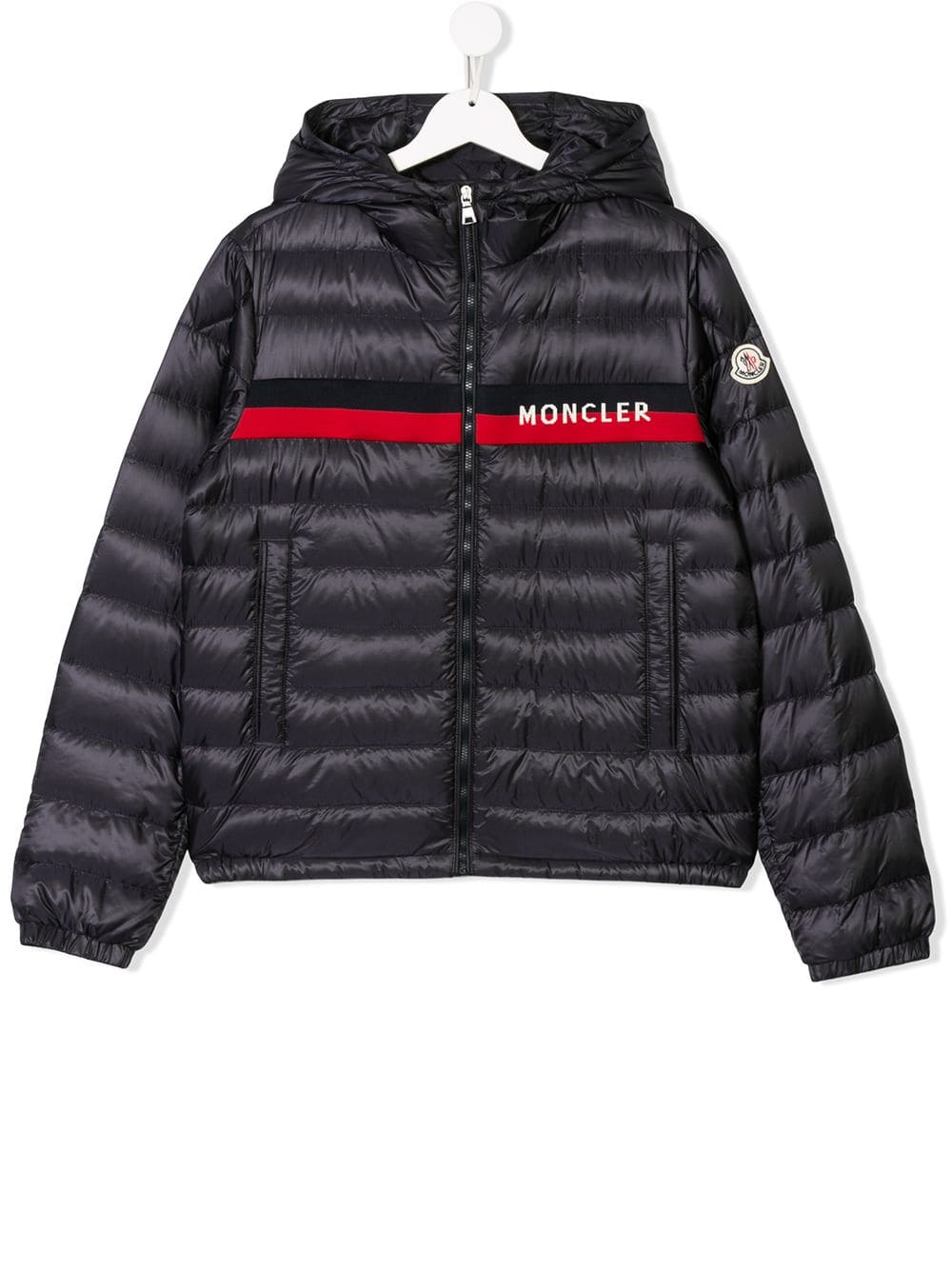 18b0c487a Moncler Kids TEEN logo stripe padded coat - Blue | Products in 2019 ...