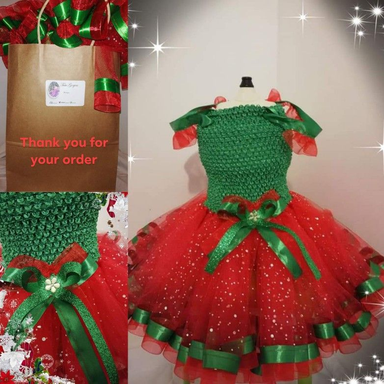 Christmas ribbon trimmed tutu dress #tutugorjess #Christmasfeels