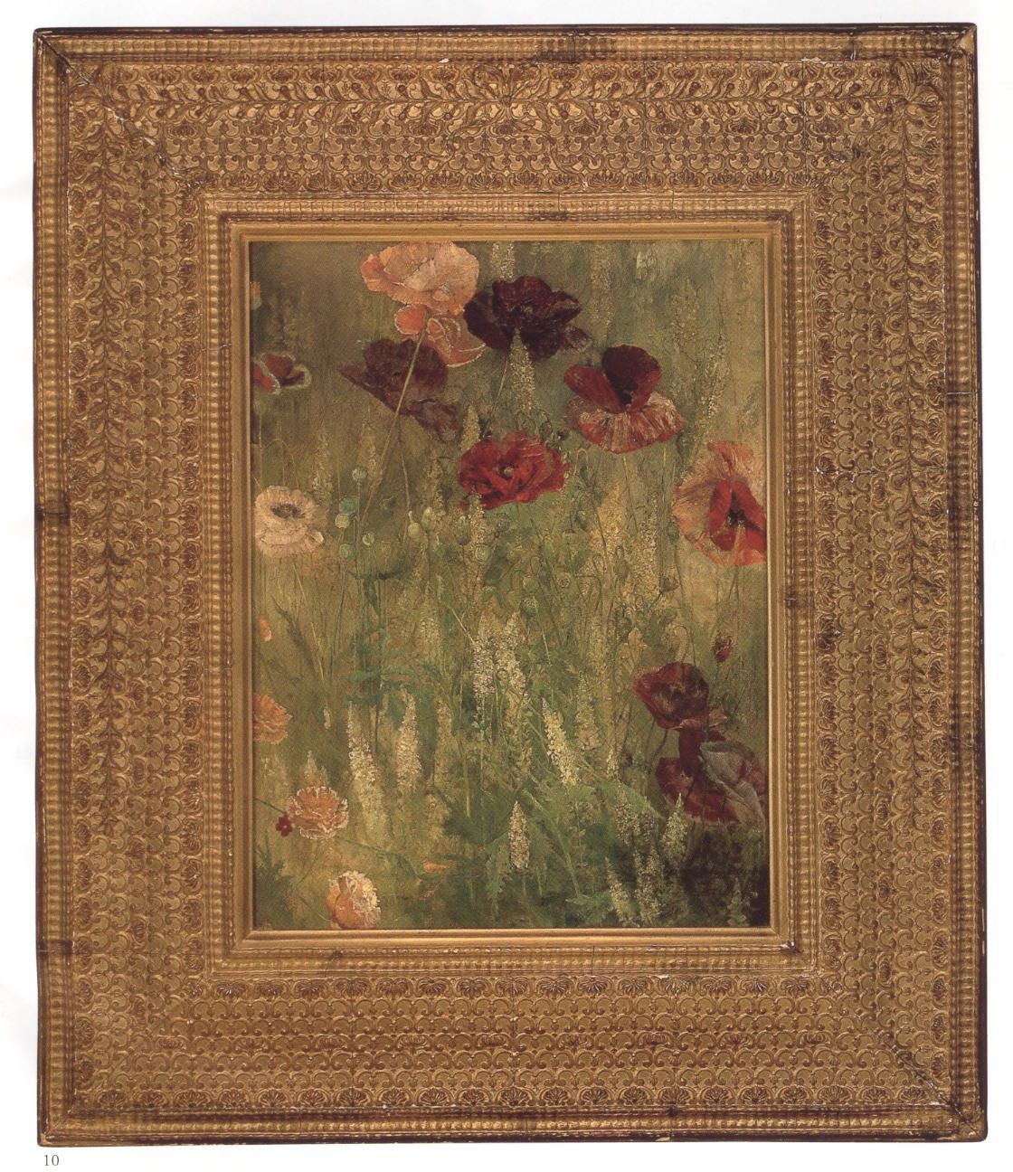 "Maria Oakey Dewing ""Poppies and Italian Mignonette"", 1891 in its original frame designed by Stanford White"