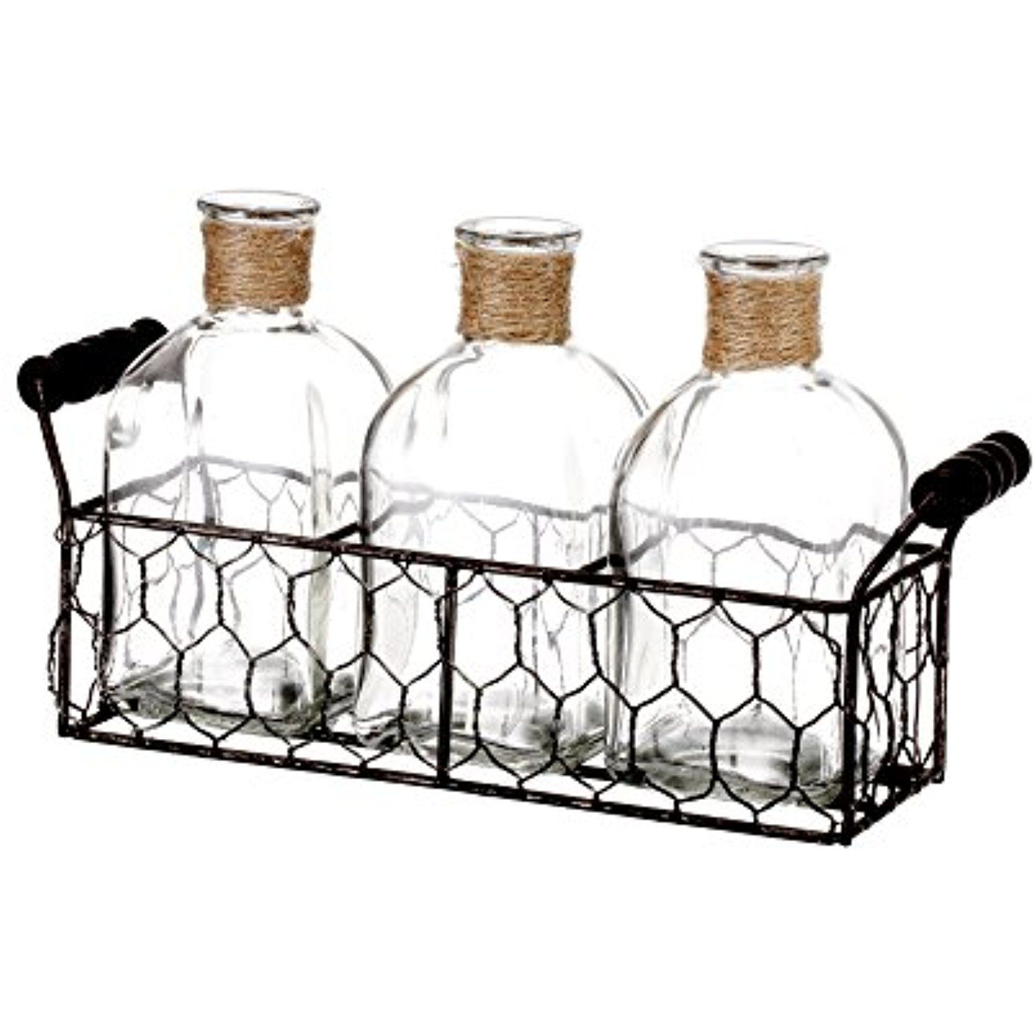 V-More Rustic Glass Bottle Flower Bud Vase with Chicken Wire Basket ...