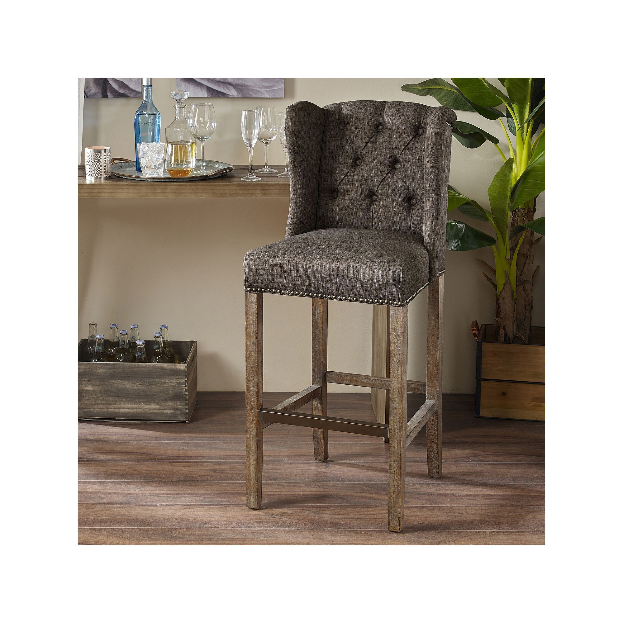 Madison Park Lydia Wing Back Bar Stool Bar Stools Home Decor