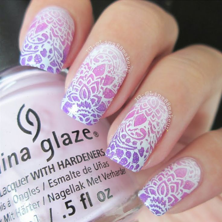 Set the mood for elegance in this gorgeous stamping nail art in ...