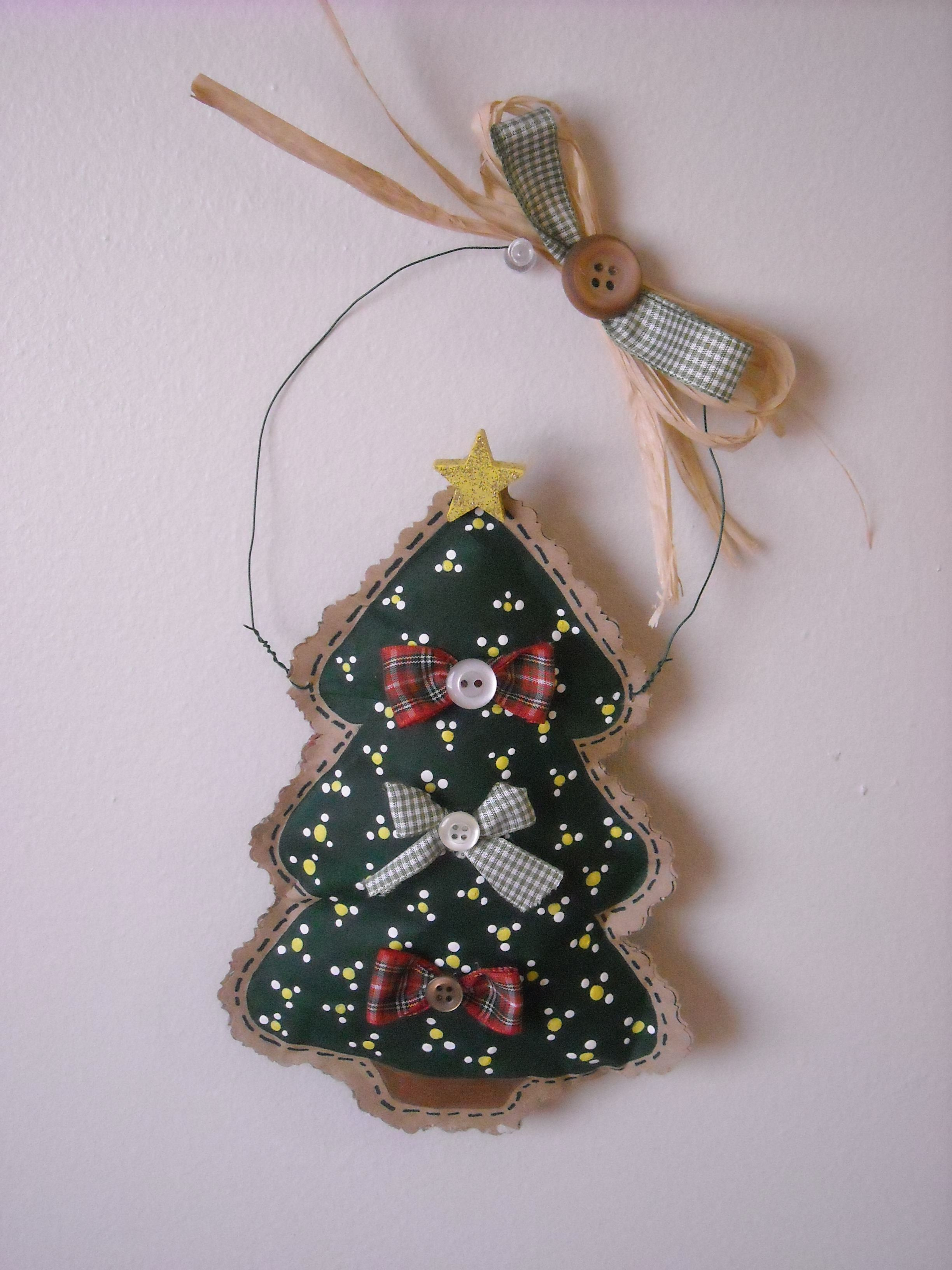 Christmas Tree Made Out Of Brown Paper Bag Paper Christmas Ornaments Childrens Christmas Crafts Paper Bag Crafts