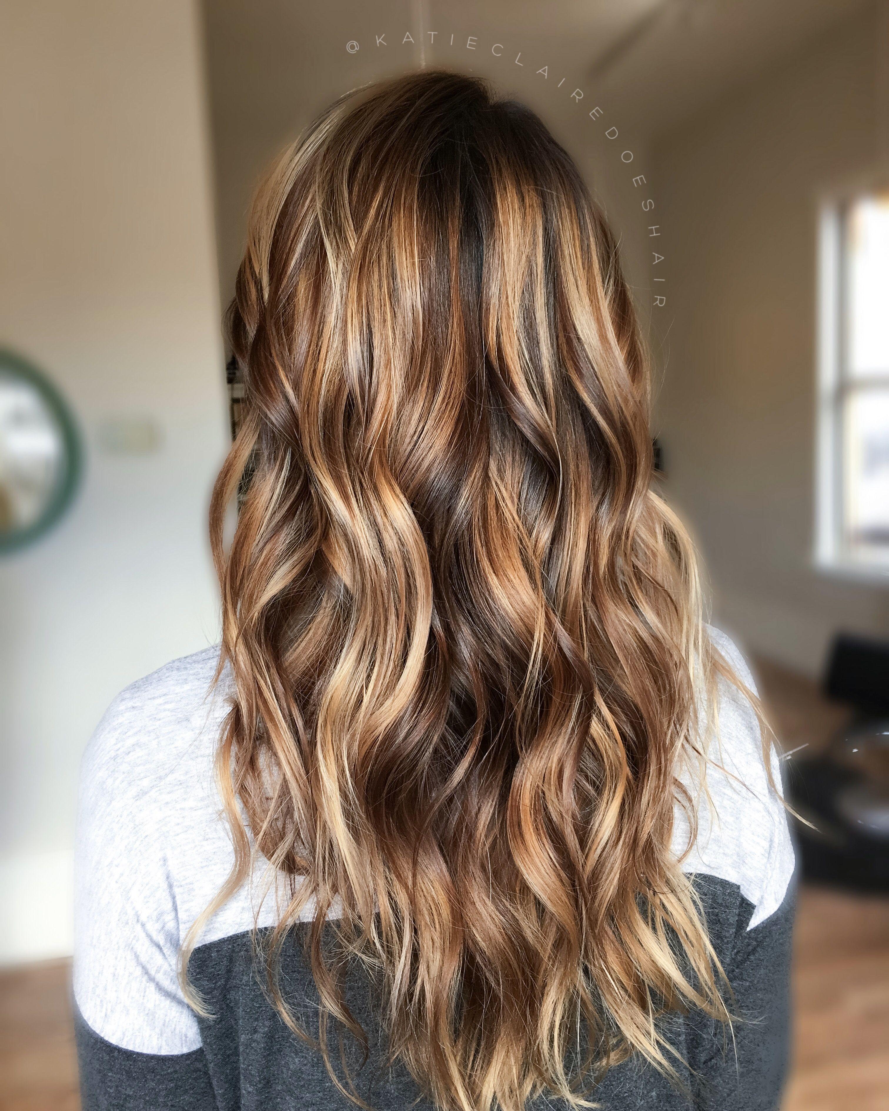 brown balayage // caramel balayage // painted hair // dimensional