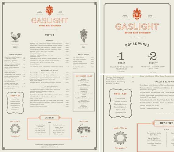 Gaslight menu by rebecca alden restaurant graphics