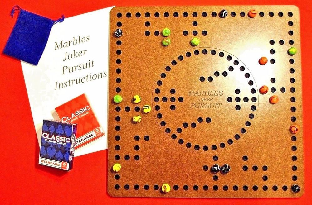 Marbles Pursuit Joker Board Game 4 2 Player Felt Backing Smooth Hard Finish Pegs And Jokers Board Games Joker