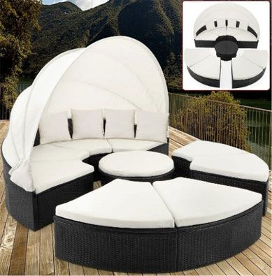 Rattan Garden Day Bed Garden Furniture with Roof White Canopy Cool