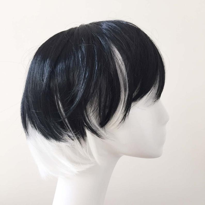 Boy Black White Mix Ombre Short Straight Japanese Fringe Anime Cosplay Wig Black Hair Boy Long Hair Wigs Silky Black Hair