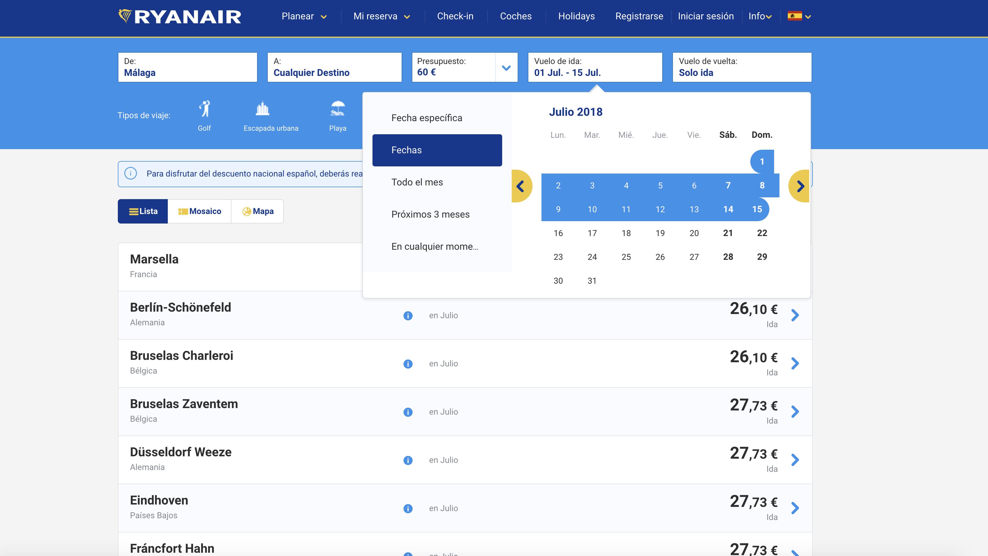 Buscador de vuelos Ryanair