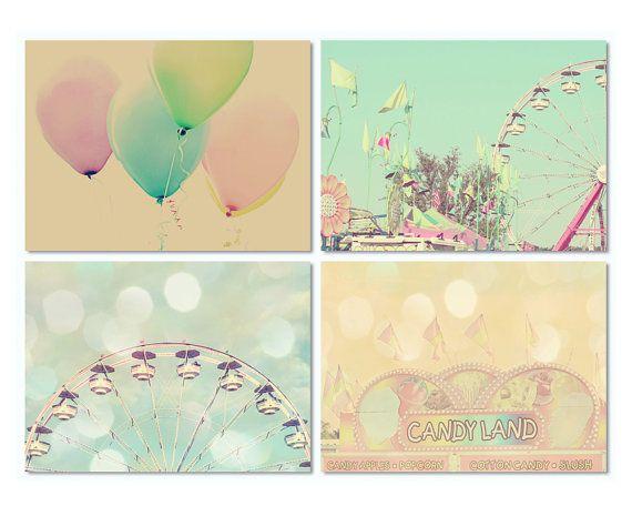 Pastel nursery art, toddler girl wall decor, carnival wall art set ...