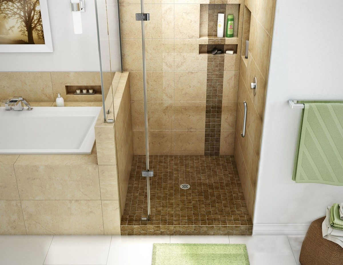 Single Curb Shower Pan With Center Drain, 42u2033D X 36u2033W