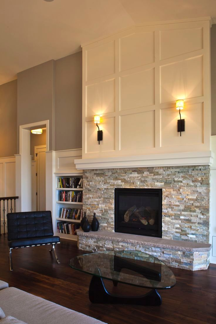 Pin By Louise Kirsch On Diy For The Home Brick Fireplace Makeover Stacked Stone Fireplaces Brick Fireplace