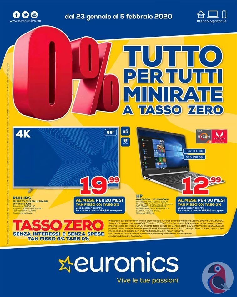 Volantino Euronics Minirate a Tasso Zero dal 23/01 al 5/02