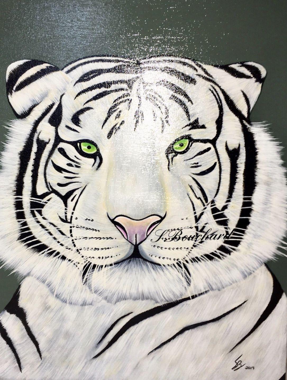 "White Tiger original, signed, acrylic painting 16""x20 ..."