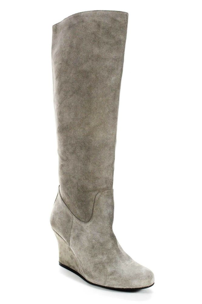 0c7d33b3f15 eBay Advertisement) Lanvin Womens Suede Knee High Wedge Heel Boots ...