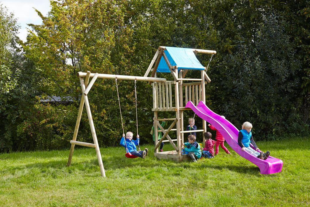 Spielturm Asterix mit Schaukel und violetter Rutsche bei dein-spielplatz.de unter  http://www.dein-spielplatz.de/de_de/spielgeraete/schaukel-kinderspielturm/spielturm-mit-schaukel-und-sandkasten-asterix