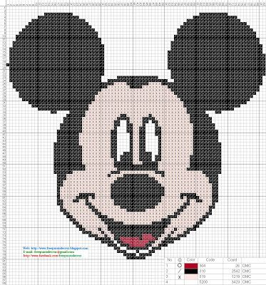 Dibujos Punto de Cruz Gratis: Mickey Mouse - Cross Stitch Punto de ...