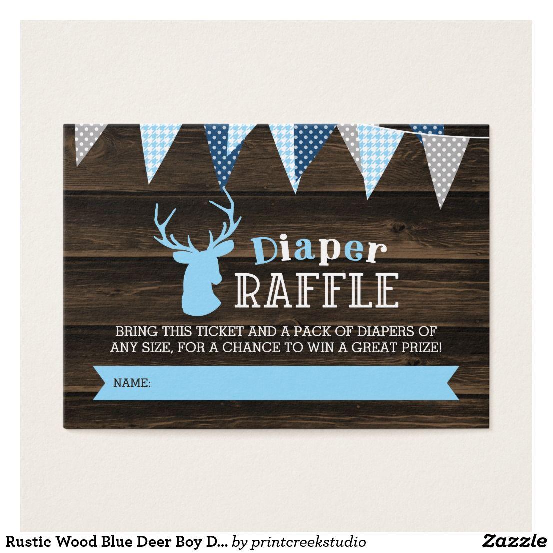 Rustic Wood Blue Deer Boy Diaper Raffle Ticket Enc
