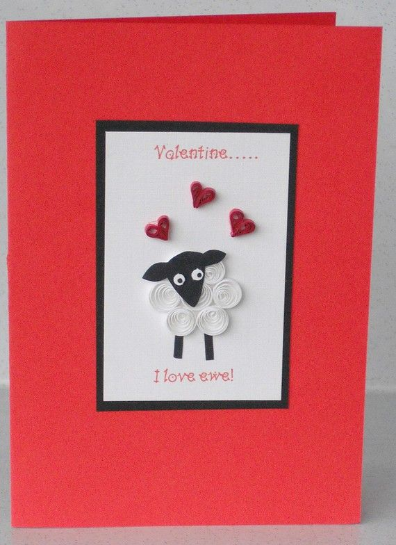 Quilled Valentines card sheep handmade quilling I love ewe – Handmade Cards for Valentine