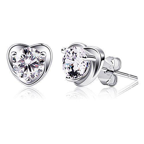 Miore Earrings Women studs Heart Zirconia 925 Sterling Silver YoL7K2CA