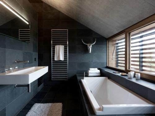 gut designtes badezimmer fliesen dunkelgrau wandgestaltung | ideen, Hause ideen