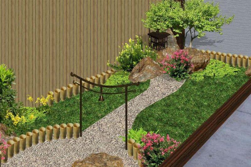 Dise o de mini jardin de estilo oriental chino con adornos for Arreglo de jardines exteriores