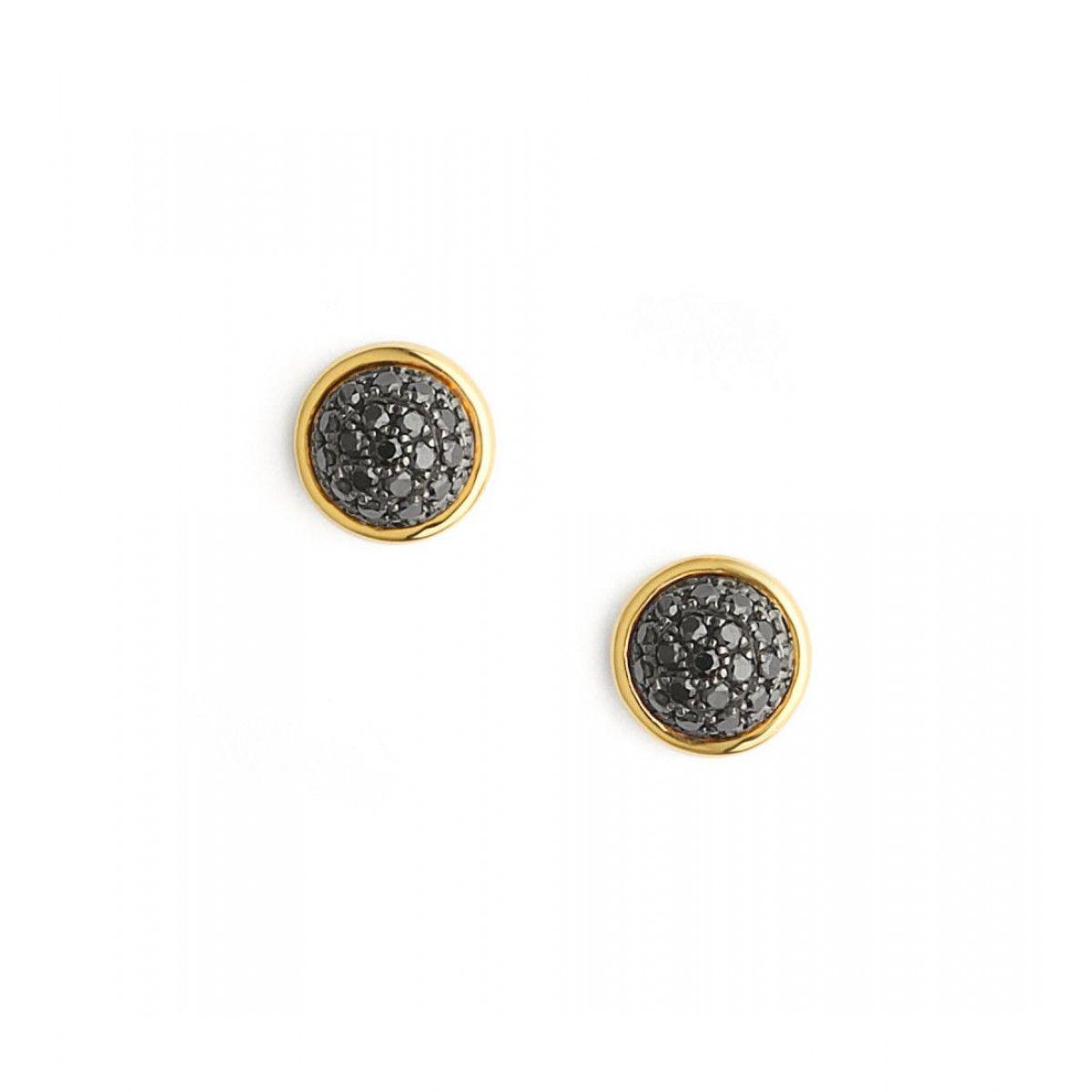 18kt Black Diamond Pave Ear Studs By Syna