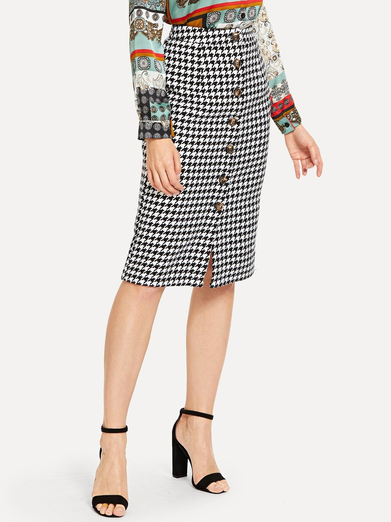 f574e398b40 Elegant Pencil Button Houndstooth Sheath High Waist Black and White Knee  Length Button Up Houndstooth Skirt