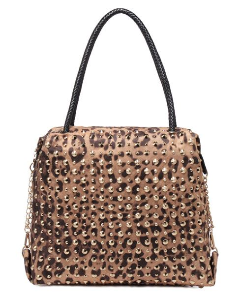 Leopard Print Bag With Stud Embellishment And Woven Strap