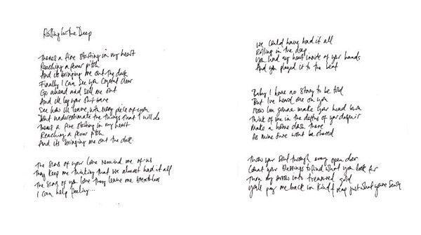Adele Handwritten Lyrics Rolling In The Deep Adele Lyrics