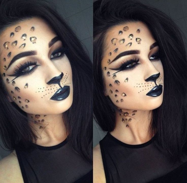 60 Halloween Makeup Looks to Step Up Your Spooky Game Leopard - cat halloween makeup ideas