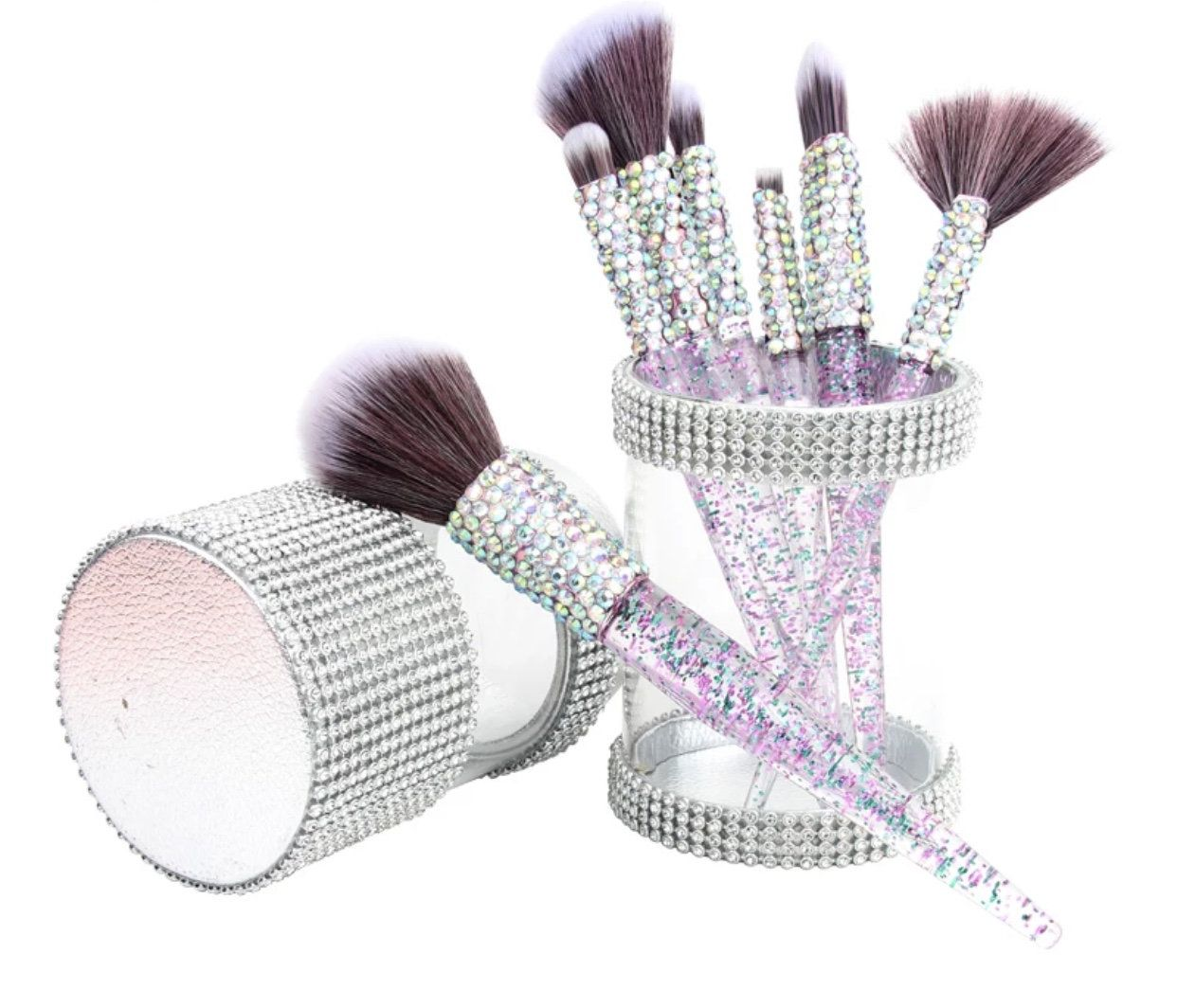 Crystal Diamond Makeup Brush Set!! #CrystalBrushes #MakeupBrushes #Sincerelyadorecosmetics #Cosmetics #Purplemakeupbrushes