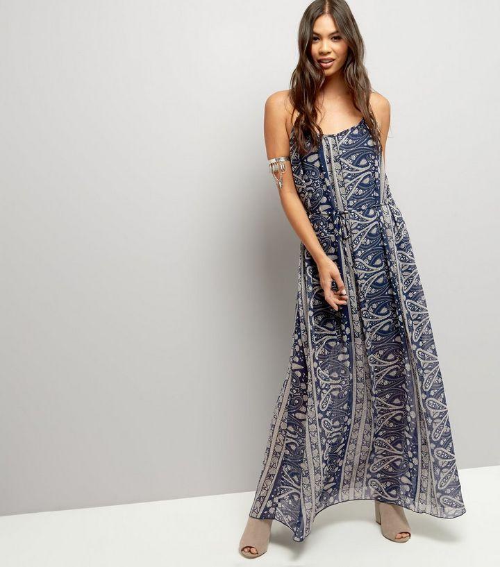 8fffa29685d Blue Vanilla - Robe bleu marine à imprimé abstrait et lien devant ...