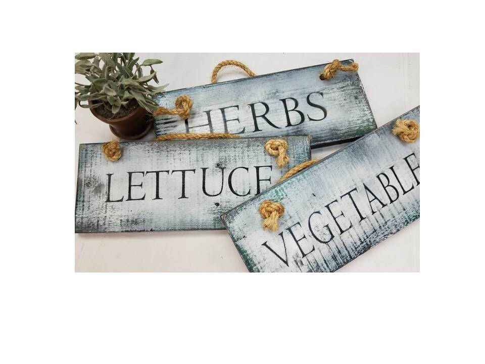 Rustic Herb Sign Green Thumb Gift Garden Signs Custom Kitchen Herbs Distressed Bo Ho Style