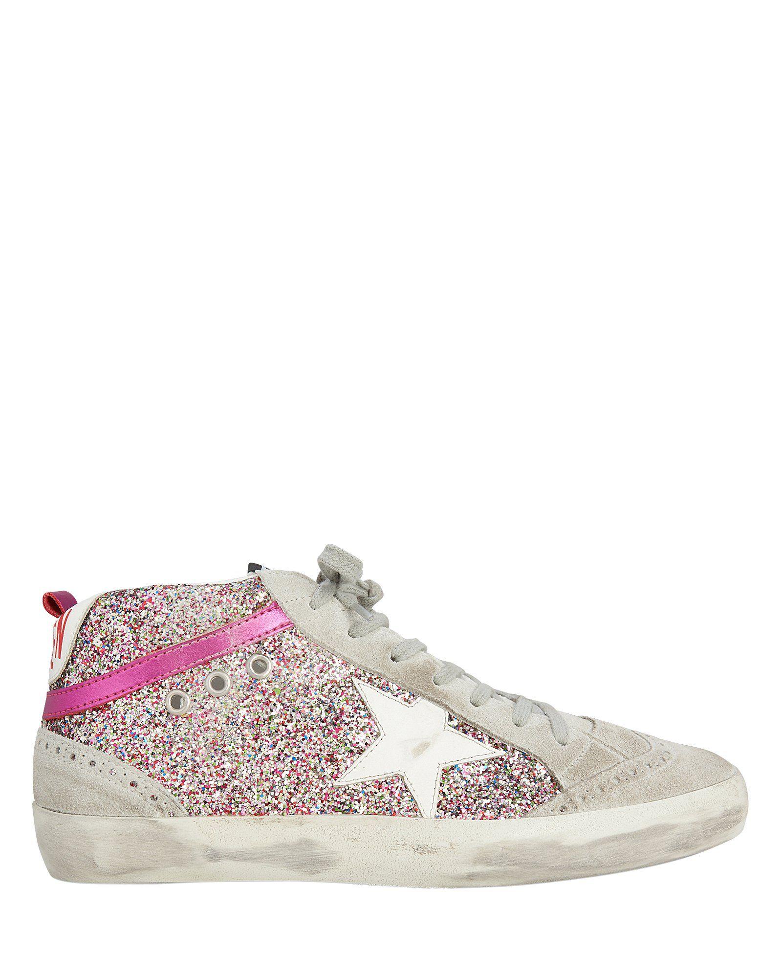 Mid Star Rainbow Glitter Sneakers in