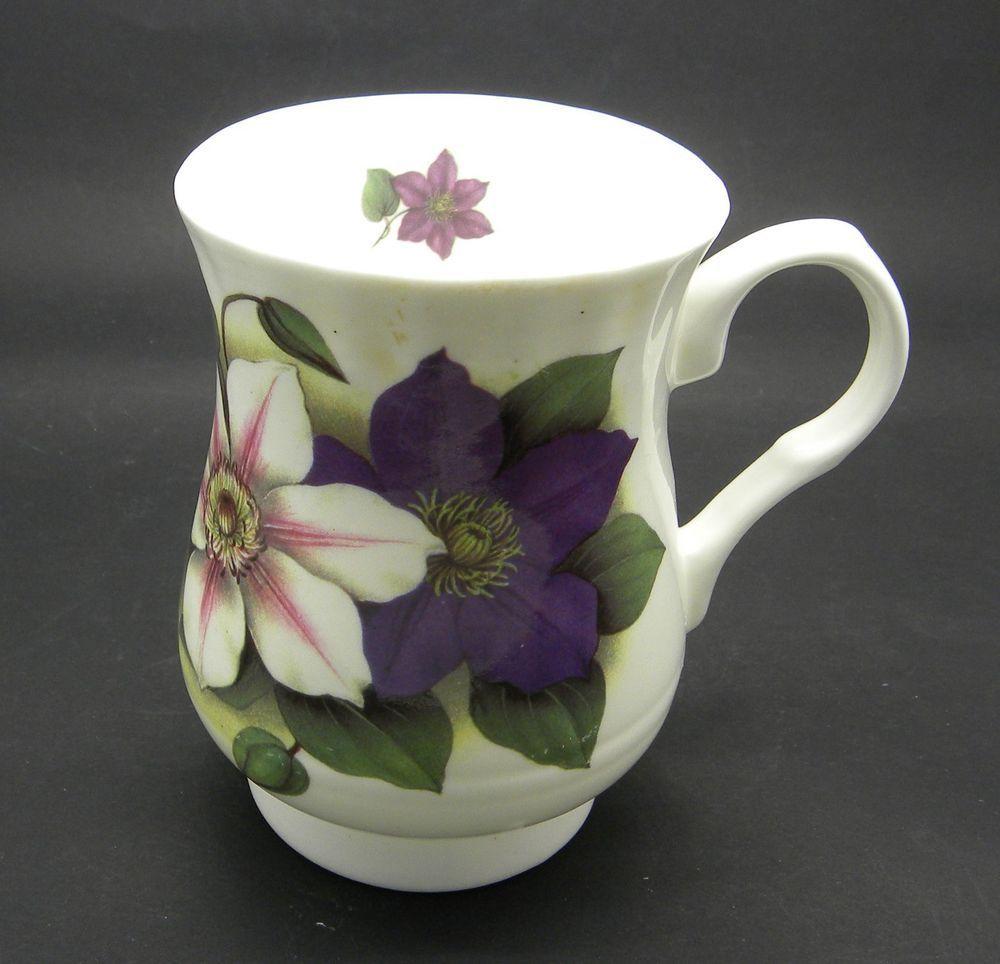Crown windsor coffee mug cup clematis purple floral